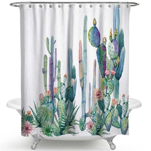 Cactus Shower Curtain Lifelike Tropical Green Cactus Fabric Shower Curtain Set
