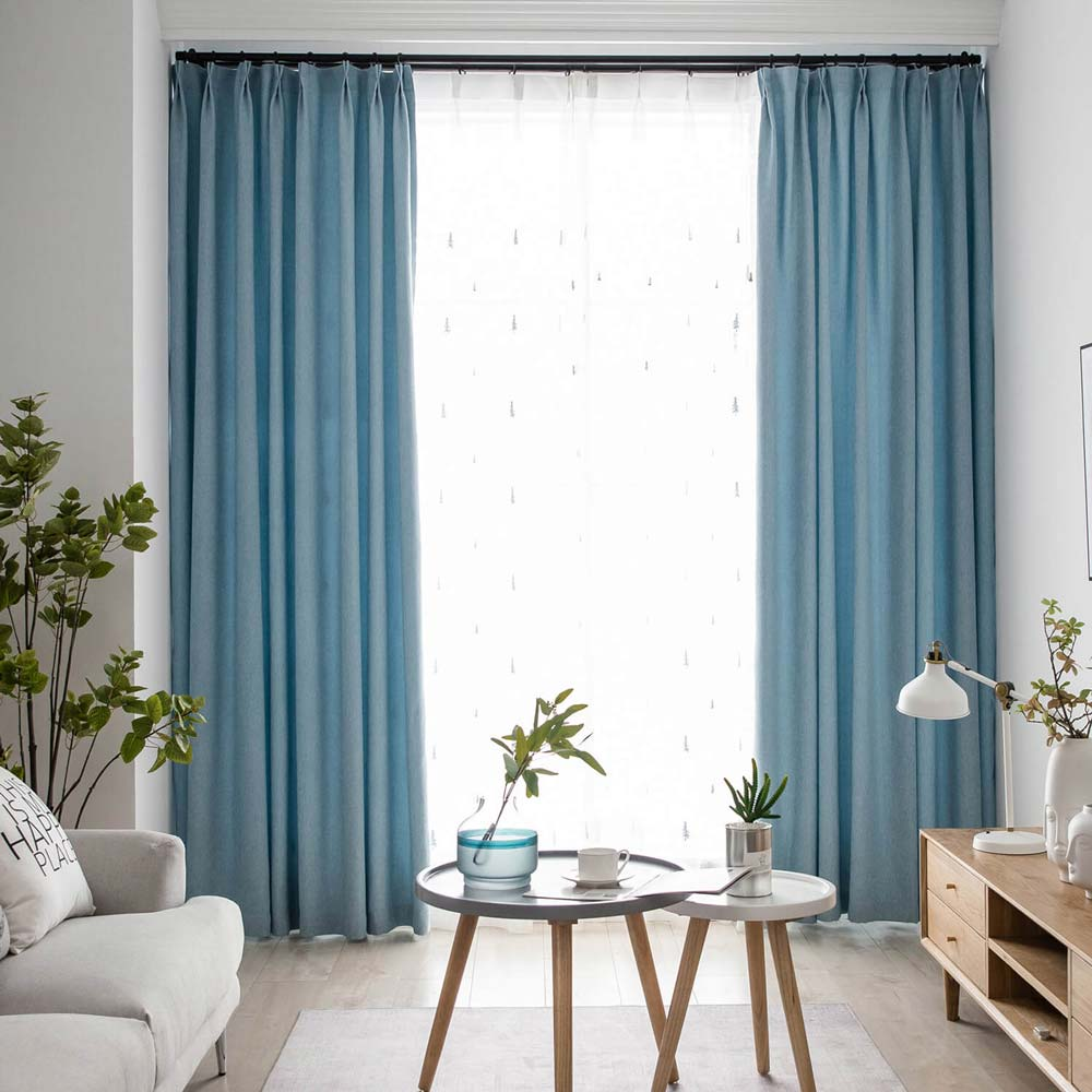 Contemporary Solid Blue Curtain Modern, Living Room Curtains Modern