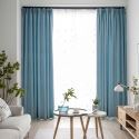 Contemporary Solid Blue Curtain Modern Simple Curtain Living Room Bedroom Study Fabric(One Panel)