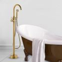 Antique Round Tub Faucet Classical Floor Mount Bathtub Tap with Hand Shower
