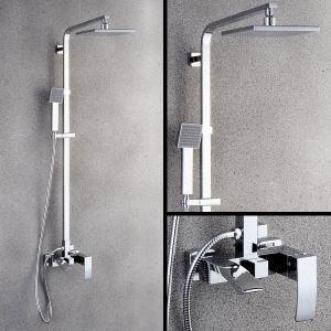 Contemporary Square Shower System Chrome Rain Shower Faucet