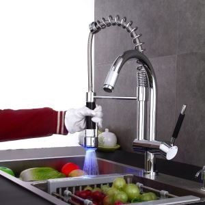 Spring LED Kitchen Faucet Commercial-Style Chrome Kitchen Tap
