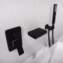 Special LED Tub Faucet Contemporary Waterfall Bathtub Tap with Hand Shower Chrome/Black