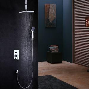 Chrome Shower Faucet Modern Ceiling Rainshower Set