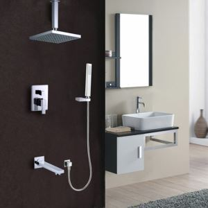 Modern Square Shower System In-wall Shower Faucet with Tub Spout