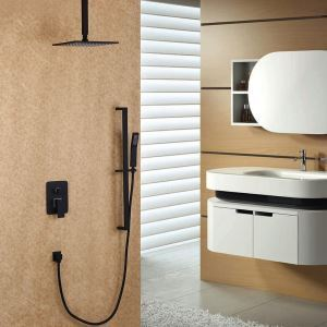 In-wall Square Shower System Rain Shower Faucet with Ceiling Mount Rain Head