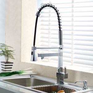 Commercial Style Chrome Kitchen Faucet Spring-coil Kitchen Tap