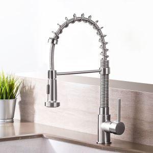 Brushed Nickel Kitchen Faucet Modern Spring Kitchen Tap