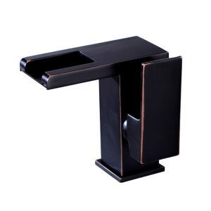 Black LED Basin Faucet Waterfall Bathroom Sink Tap Oil Rubbed Bronze