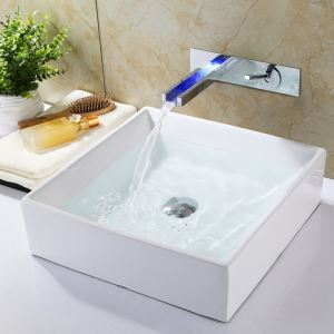 Wall Mount LED Bathroom Sink Faucet Contemporary Waterfall Sink Tap