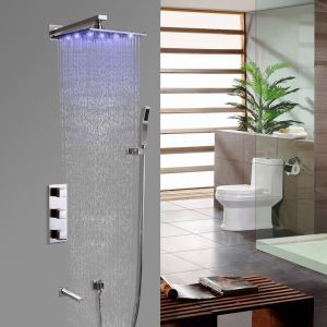 Contemporary LED Shower System Brushed Nickel Rainfall Shower Faucet with Hand Shower
