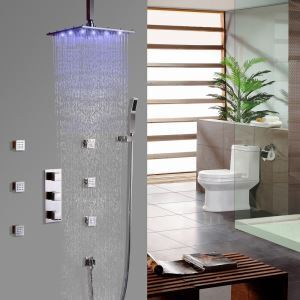 Square LED Shower Faucet Ceiling Mount Shower System with Hand Shower and Body Sprays in Brushed Nickel