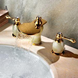 Classic Widespread Sink Faucet Brass Waterfall Bathroom Sink Tap