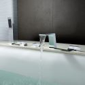 Solid Brass Waterfall Tub Faucet Contemporary Chrome Bathtub Tap with Hand Shower