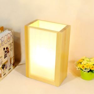 Simple Square Table Lamp Japanese Wooden Bedside Table Lamp Hotel Room Decorative Lighting
