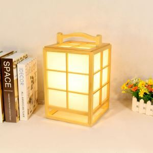 Chinese Creative Table Lamp Modern Wooden Lantern Bedside Hotel Room Lighting