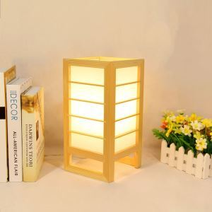 Wooden Check Table Lamp Japanese Simple Table Lamp Creative Decorative Floor Lamp