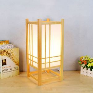Japanese Wooden Table Lamp Bottom Hollowed Table Lamp Chinese Classical Lighting