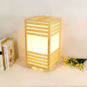 Creative Cuboid Floor Lamp Japanese Simple Square Table Lamp Chinese Wooden Lighting