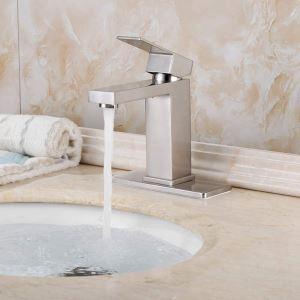Brushed Nickel Basin Faucet Stainless Steel Bathroom Vessel Sink Tap