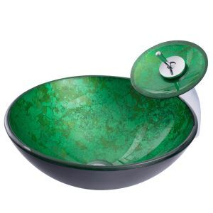 Modern Green Round Basin Tempered Glass Bathroom Sink with Waterfall Faucet