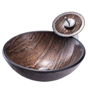 Rock Design Basin Vintage Round Tempered Glass Vessel Sink with Waterfall Faucet