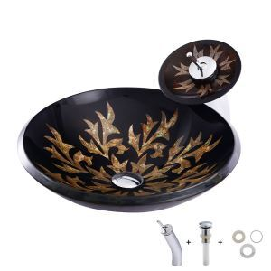 Modern Tempered Glass Basin Flower Pattern Round Vessel Sink with Waterfall Faucet