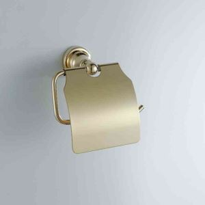 Contemporary Golden Ti-PVD Finish Toilet Paper Rack with Cover Wall Mounted Brass Toilet Paper Holder
