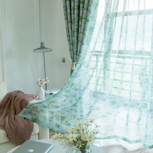 Nordic Green Sheer Curtain Coconut Tree Printed Sheer Curtain Living Room Bedroom Office Fabric(One Panel)