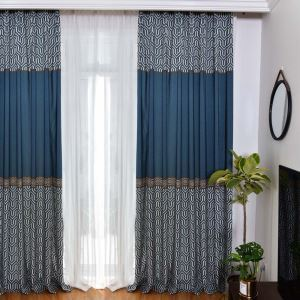 American Retro Curtain Imitated Splicing Printed Curtain Living Room Bedroom Fabric(One Panel)