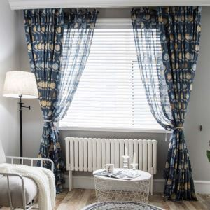 Unique Flower Printed Curtain Simple Abstract Blue Curtain Living Room Bedroom Kid's Room Fabric(One Panel)