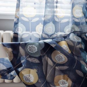 Unique Flower Printed Sheer Curtain Blue Abstract Sheer Curtain Living Room Bedroom Kid's Room Fabric(One Panel)