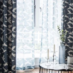 Pigeon Printed Sheer Curtain Simple Cartoon Sheer Curtain Living Room Bedroom Kid's Room Study Fabric(One Panel)
