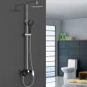 Chrome + Black Shower Faucet Modern Exposed Shower System