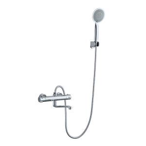 Modern Chrome Thermostatic Shower System Exposed Wall Mount Shower Faucet with Round Hand Shower