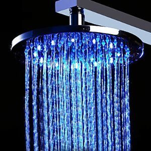 12 inch Brass Shower Head with Color Changing LED Light (Round)