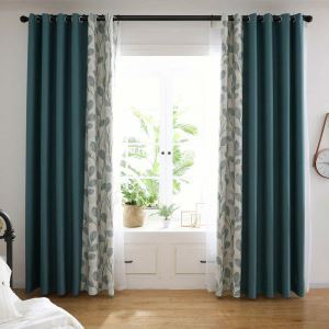 Contemporary Green Splicing Curtain Leaf Pattern Curtain Living Room Bedroom Study Fabric(One Panel)