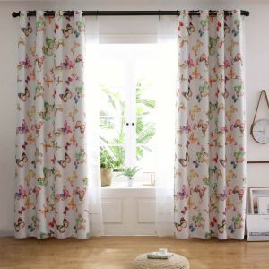 Chromatic Butterfly Printed Curtain American Rural Curtain Living Room Bedroom Kid's Room Fabric(One Panel)