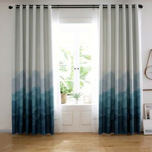 Blue Fog Printed Curtain Modern Simple Blackout Curtain Living Room Bedroom Kid's Room Fabric(One Panel)