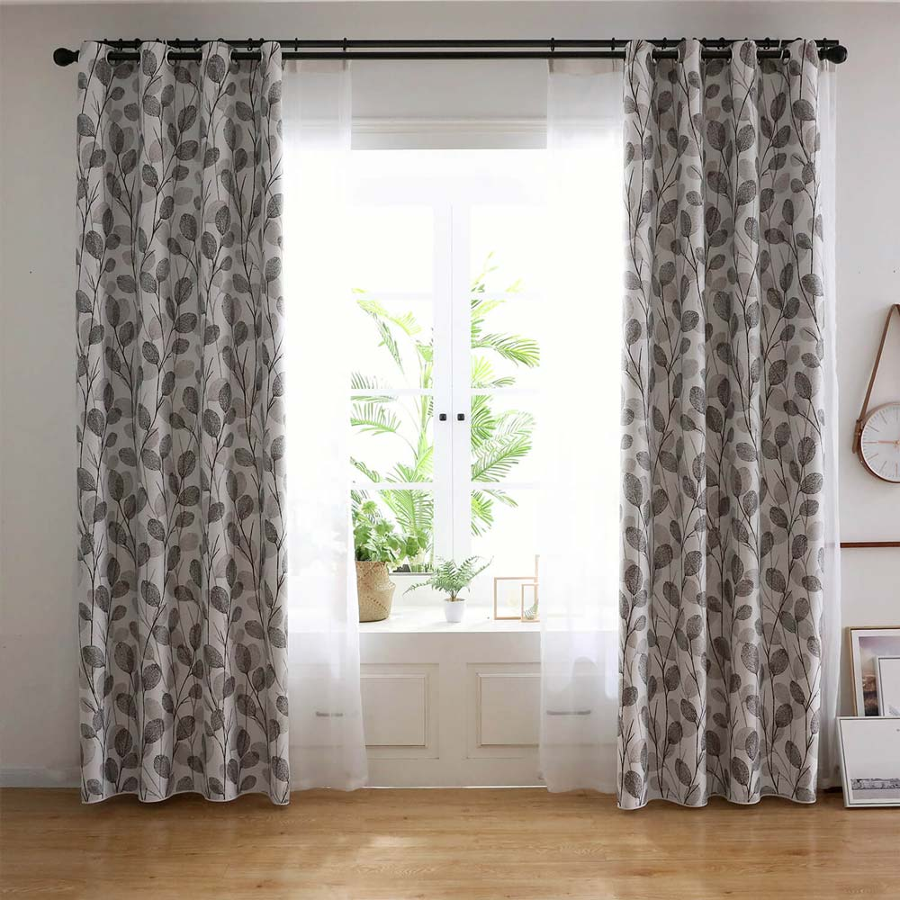 Simple Leaf Printed Curtain Nordic Style Grey Curtain Living ...
