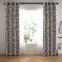 Simple Leaf Printed Curtain Nordic Style Grey Curtain Living Room Bedroom Study Fabric(One Panel)