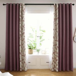 Modern Purple Splicing Curtain Simple Leaf Pattern Curtain Living Room Bedroom Study Fabric(One Panel)