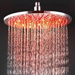 Round LED Rain Shower Head Chromed Brass 12 Inch (0913 -8109)