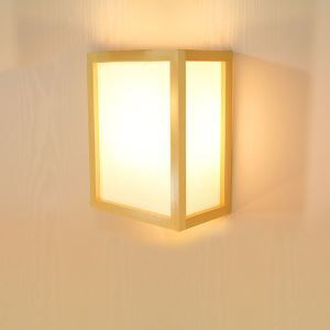 Simple Rectangle Wall Sconce Creative Wooden Wall Light Hotel Room Lighting