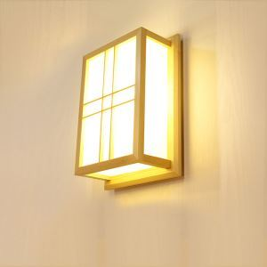 Wooden Rectangle LED Wall Sconce Japanese Creative Wall Light Bedside Hallway Lighting