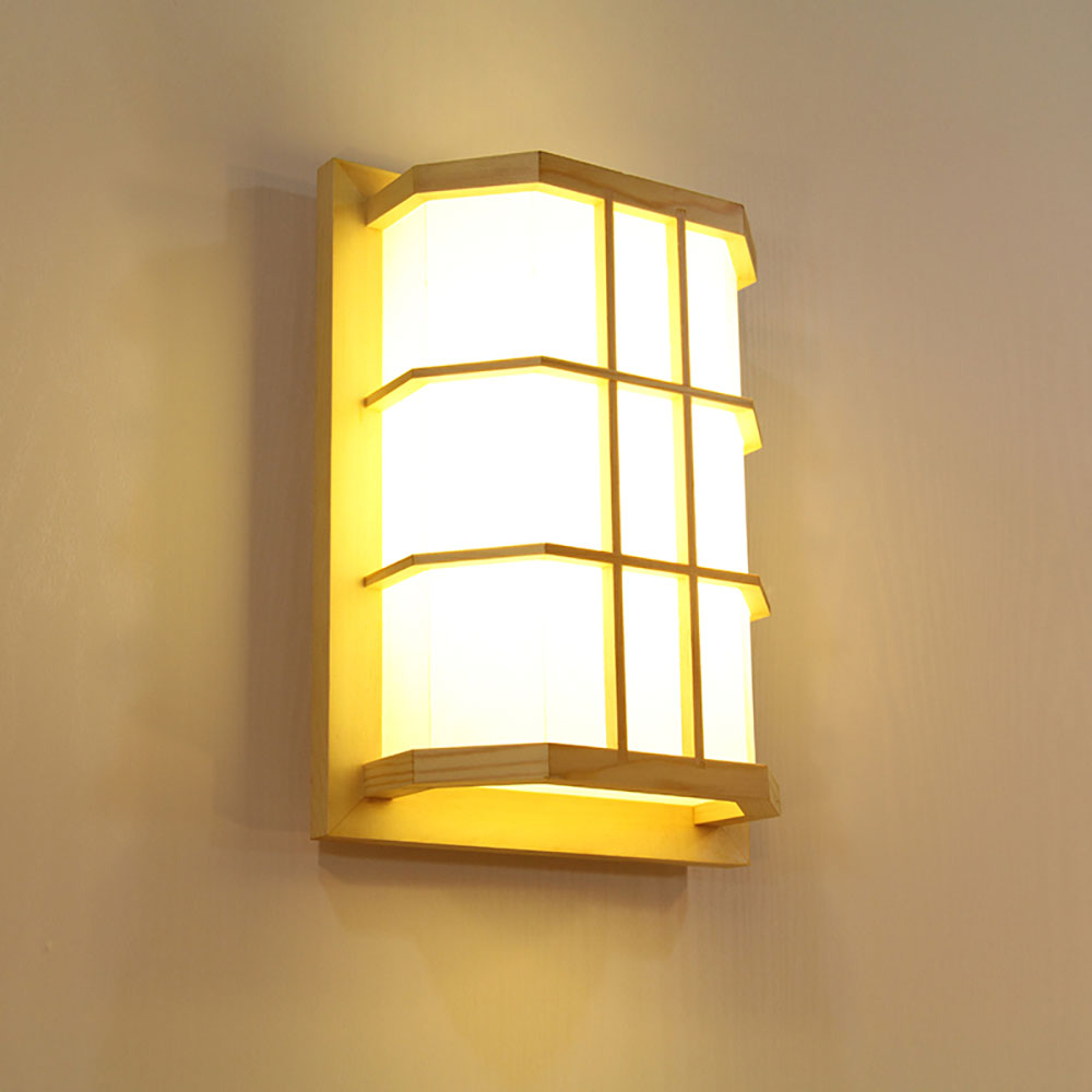 Creative Led Wall Sconce Japanese Wooden Wall Light