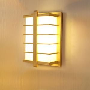 Modern Square Wall Sconce Japanese LED Wooden Wall Lamp Bedside Hotel Room Hallway Light