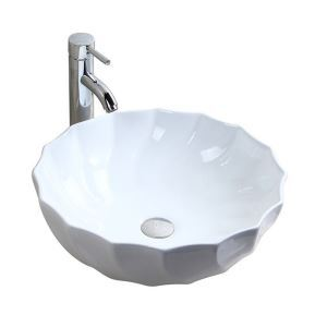 Round Whorl Basin White Ceramic Bathroom Vessel Sink(without Faucet)