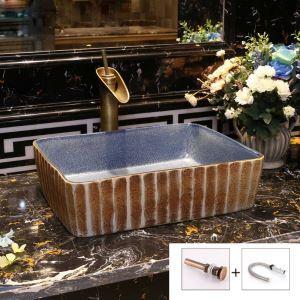 Vintage Stripes Basin Rectangle Ceramic Vessel Sink for Bathroom(without Faucet)