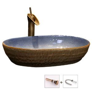 Vintage Ceramic Basin Elliptical Stone Design Bathroom Sink(without Faucet)